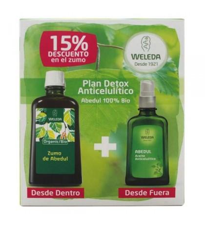 Weleda pack Detox anticelulítico aceite abedul 100ml + Zumo abedul Bio 100ml