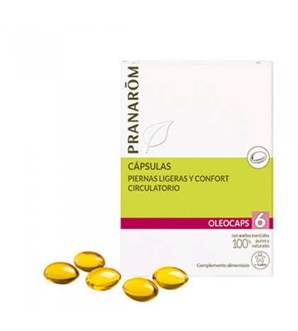 Pranarom Oleocaps 6 piernas ligeras y confort circulatorio 30 cápsulas naturales