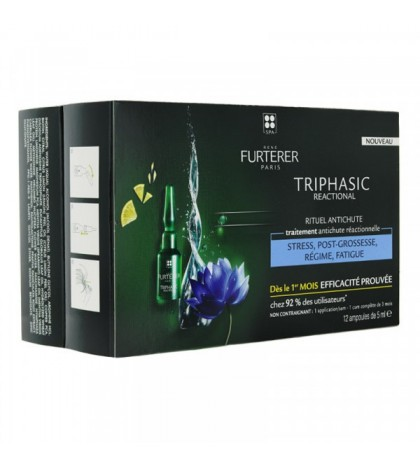 Rene Furterer Triphasic Reaccional ampollas anticaída estrés, postparto, fatiga 12 ampollas