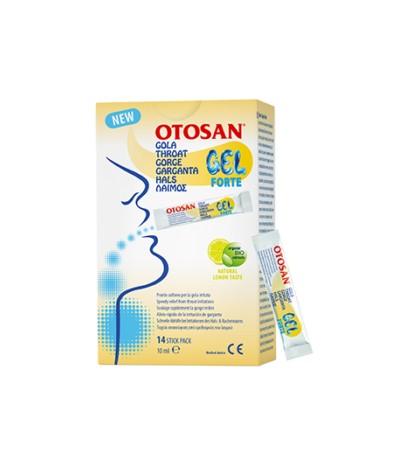 Otosan Gel Forte Garganta 14 sticks 10ml para el alivio de la irritación de garganta sabor limónn