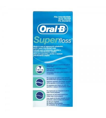 Oral-B Seda Dental SuperFloss 50 unidades especial para ortodoncia, puentes y espacios amplios