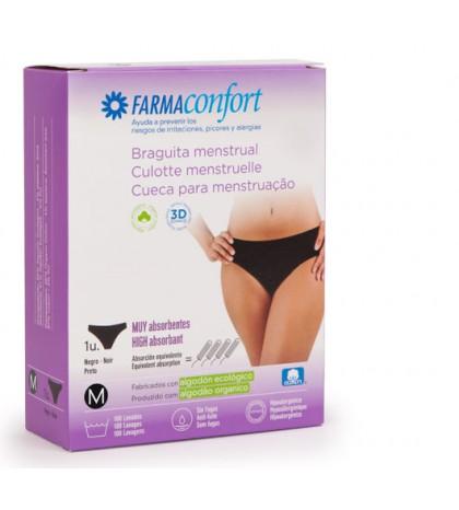 Farmaconfort Braguitas menstruales algodón negras 100 lavados talla S 1 unidad