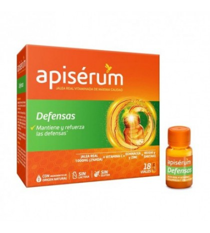 Apiserum Defensas 18 viales jalea real, vitamina C. echinacea, energía y defensas