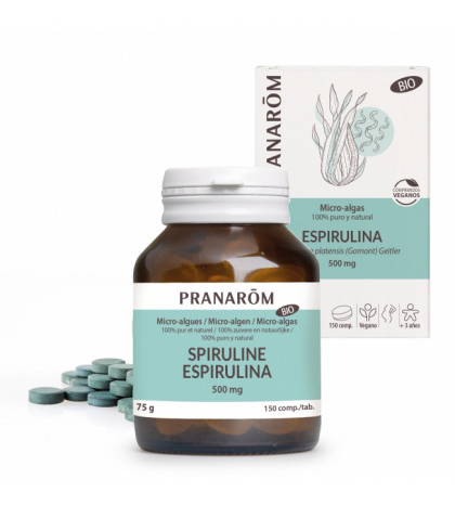 Pranarom Espirulina comprimidos veganos 500mg micro algas 100% puro y natural BIO 150 compr